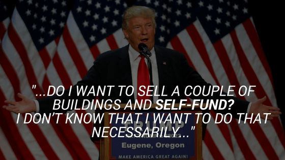 Trump doesn't self fund
